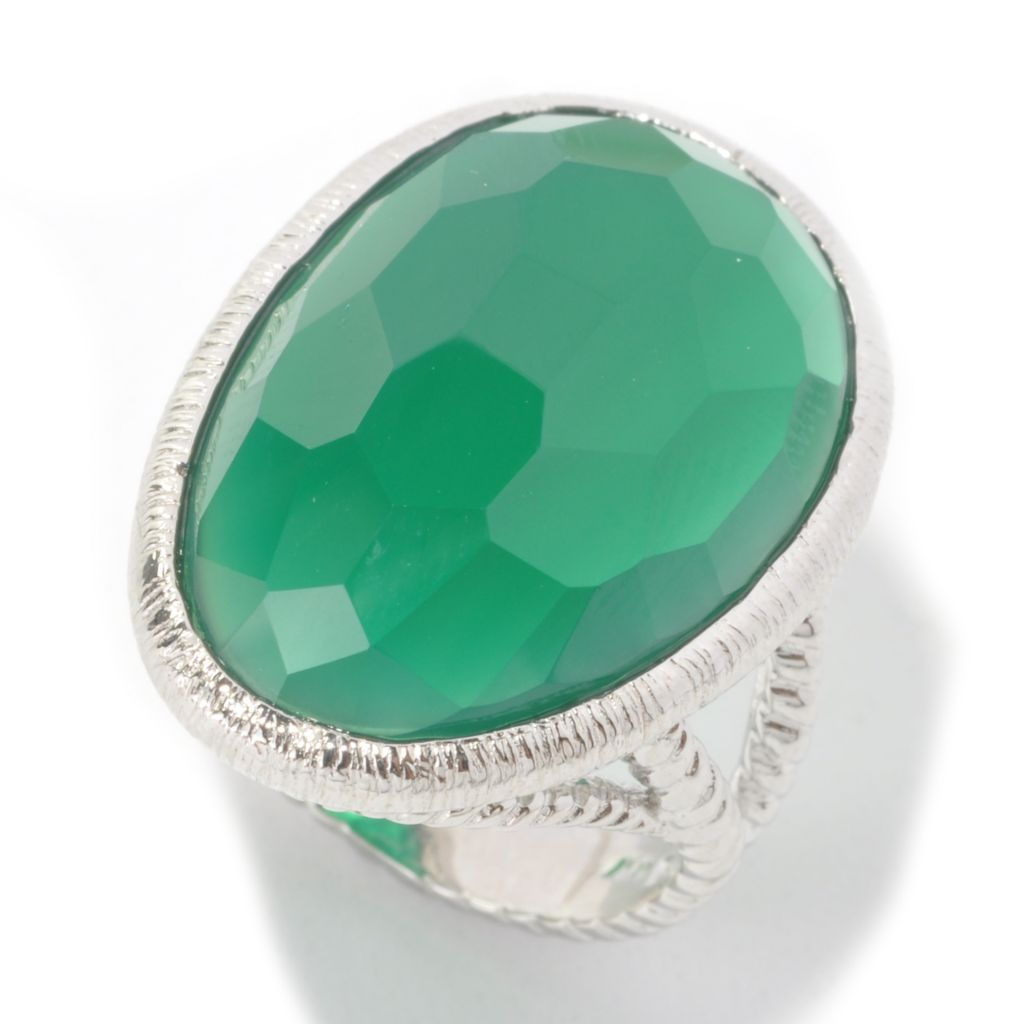 134-143 - Gem Insider Sterling Silver 24 x 16mm Freeform Green Agate Textured Ring