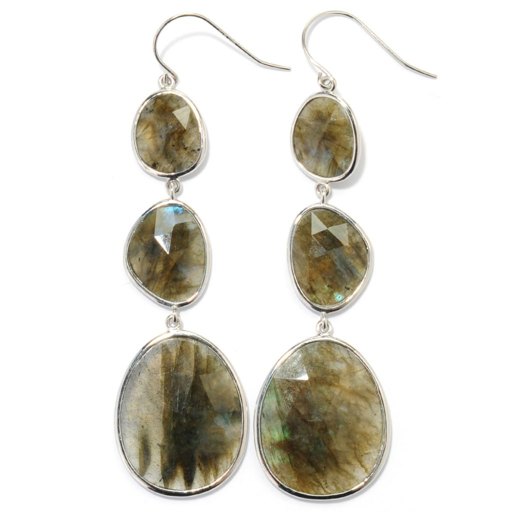 "134-145 - Gem Insider 3"" Sterling Silver 25 x 20mm Labradorite Drop Earrings"