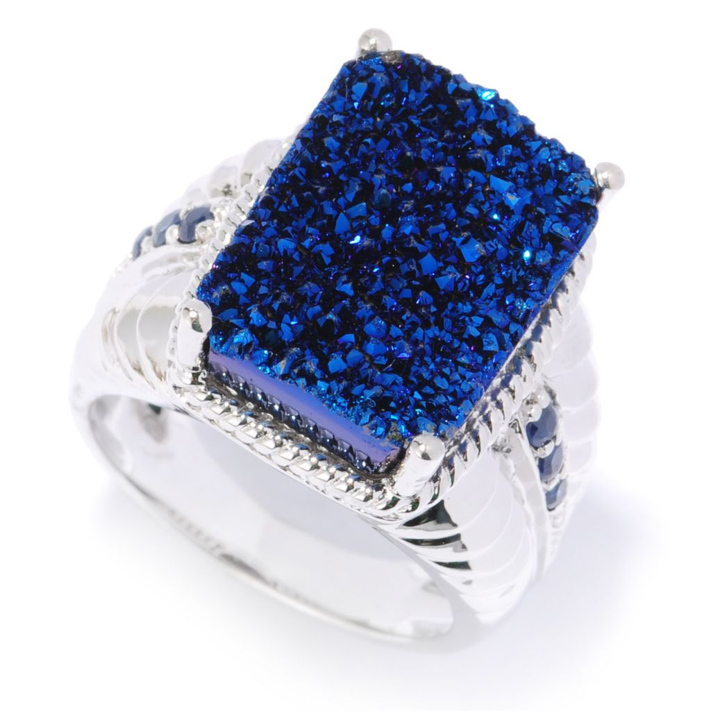134-150 - Gem Insider Sterling Silver 16 x 12mm Blue Drusy & Sapphire Overlapping Ring