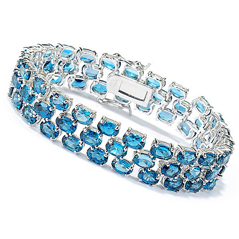 134-151 - Gem Insider Sterling Silver London Blue Topaz Three-Row Link Bracelet