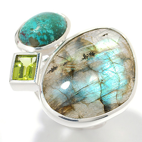 134-158 - Gem Insider Sterling Silver 26 x 19mm Labradorite & Multi Gem Ring