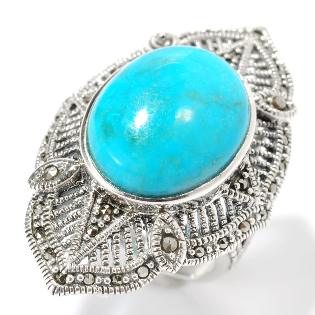 134-159 - Gem Insider Sterling Silver 18 x 14mm Oval Turquoise & Marcasite Ring