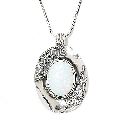 134-164 - Passage to Israel Sterling Silver 20 x 15mm Simulated Opal Pendant w/ Chain