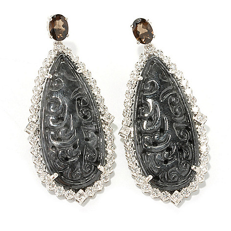 134-167 - Sterling Silver 2'' 35 x 15mm Charcoal Jade, Smoky Quartz & White Topaz Drop Earrings