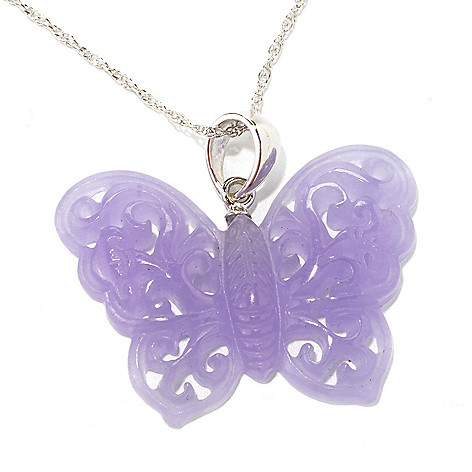 134-168 - Sterling Silver 35 x 26mm Carved Lavender Jade Butterfly Pendant w/ 18'' Chain