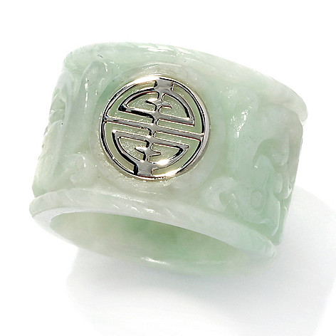 134-171 - Sterling Silver 16mm Carved Jade Dragon Pattern Sau Symbol Ring