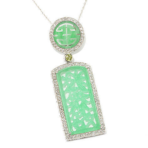 134-174 - Sterling Silver 40 x 17mm Carved Jade, White Topaz & Gemstone Drop Pendant w/ 18'' Chain
