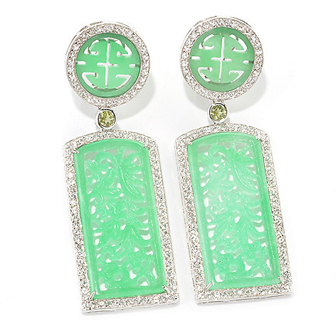 134-175 - Sterling Silver 2.75'' 40 x 17mm Carved Jade, White Topaz & Peridot Drop Earrings