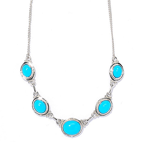 134-177 - Gem Insider 18'' Sterling Silver Sleeping Beauty Turquoise Station Necklace