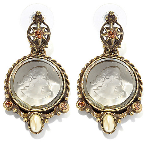 134-179 - Sweet Romance™ 1.75'' Crystal & Glass Intaglio Drop Earrings
