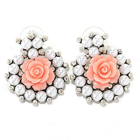 134-181 - Sweet Romance™ 1.5'' Crystal, Glass & Resin Rose Collar Earrings