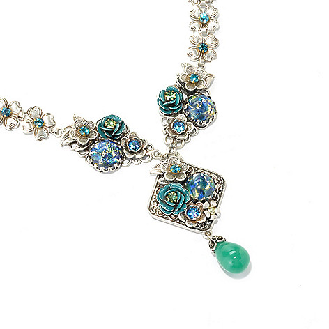 134-182 - Sweet Romance™ 17.5'' Multi Color Crystal & Glass Flower Medallion Drop Necklace