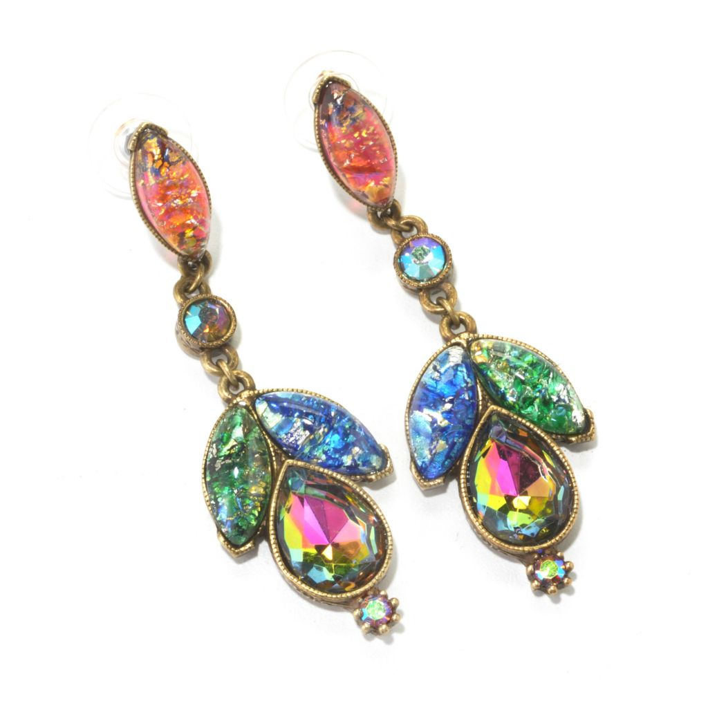 "134-184 - Sweet Romance™ 2.5"" Multi Color Crystal & Glass Drop Earrings"