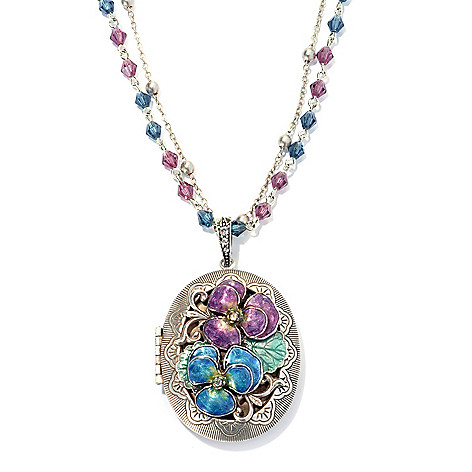 134-186 - Sweet Romance™ Crystal & Enamel Pansy Locket w/ 30'' Double Strand Beaded Necklace