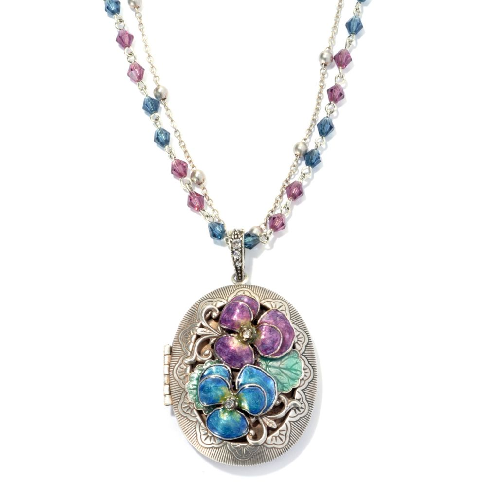 "134-186 - Sweet Romance™ Crystal & Enamel Pansy Locket w/ 30"" Double Strand Beaded Necklace"