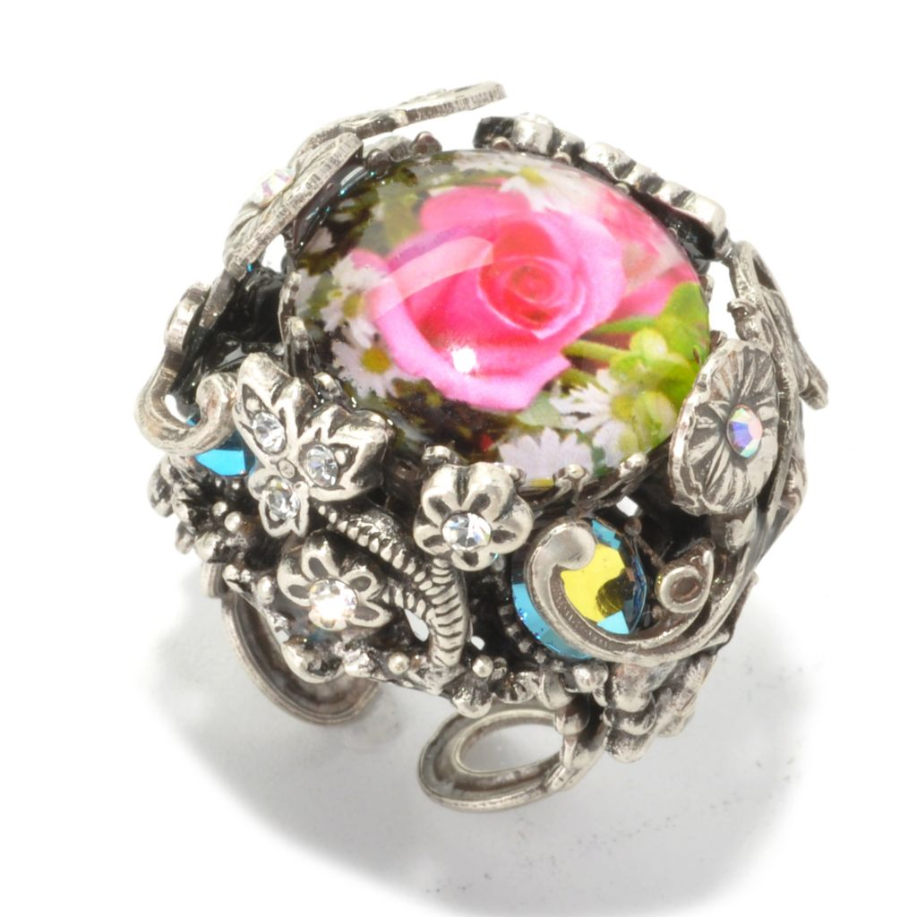 134-190 - Sweet Romance™ Crystal & Glass Floral Overlay Rose Dome Ring