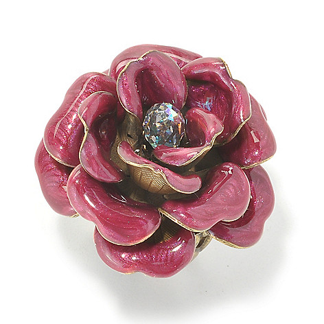 134-191 - Sweet Romance™ Teardrop Crystal Enamel Rose Adjustable Ring