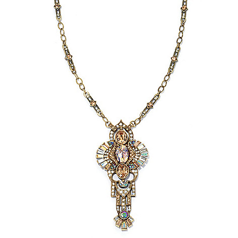 134-193 - Sweet Romance™ 30.5'' Multi Color Crystal & Glass Deco Fanfare Mirror Necklace