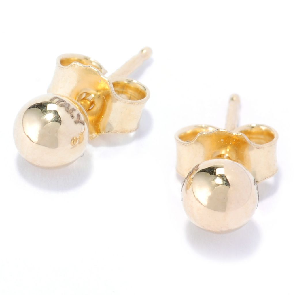 134-195 - Italian Designs with Stefano 14K Gold Ball Stud Earrings
