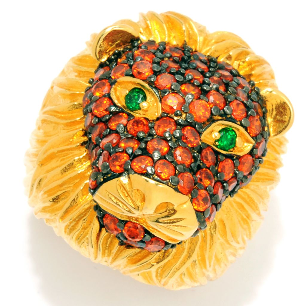 134-196 -  Neda Behnam Gold Embraced™ 4.02 DEW Round Simulated Gemstone Textured Lion Ring