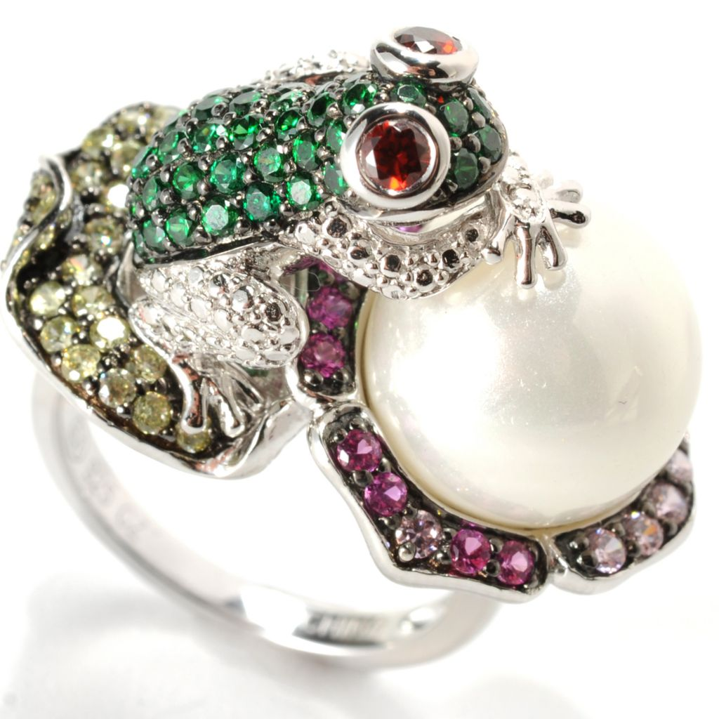 134-197 - Neda Behnam Platinum Embraced™ Simulated Pearl & Simulated Gemstone Frog Ring