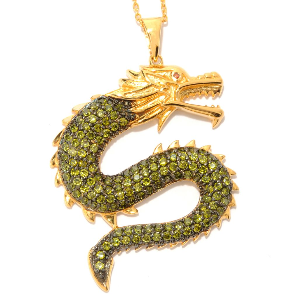 "134-201 -  Neda Behnam Gold Embraced™ 2.61 DEW Simulated Gemstone Dragon Pendant w/ 18"" Chain"