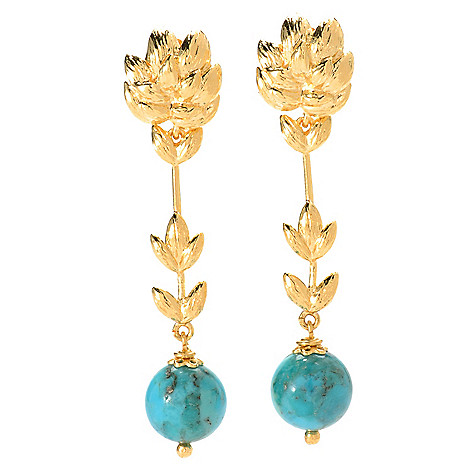 134-202 - Toscana Italiana Gold Embraced™ 2'' Turquoise Elongated Leaf Drop Earrings