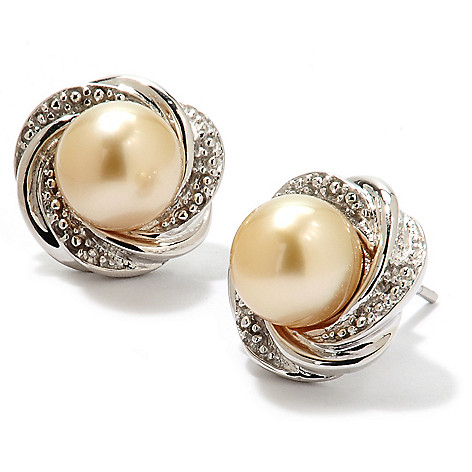 134-204 - Sterling Silver 9-10mm Semi-Round Golden South Sea Cultured Pearl Button Earrings