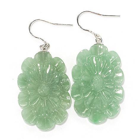 134-207 - Sterling Silver 2'' 33 x 22mm Hand-Carved Jade Flower Drop Earrings