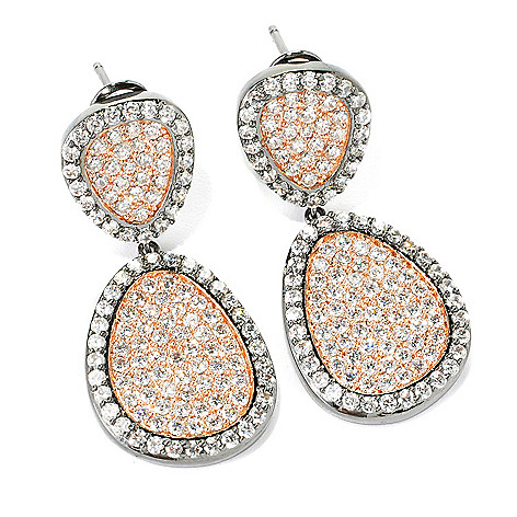 134-212 - Brilliante® 1.87 DEW Simulated Diamond Two-tone Teardrop 1.5'' Drop Earrings