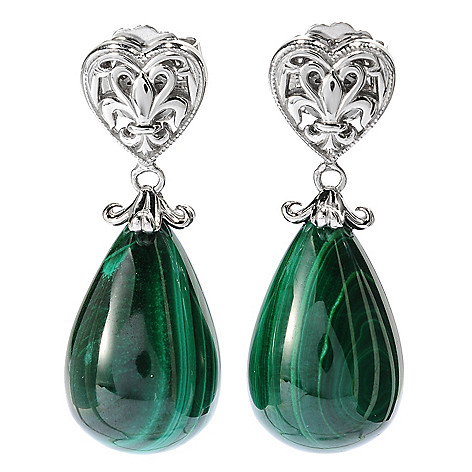 134-217 - Dallas Prince Designs Sterling Silver 21 x 14mm Pear Shaped Gemstone 1.5'' Drop Earrings