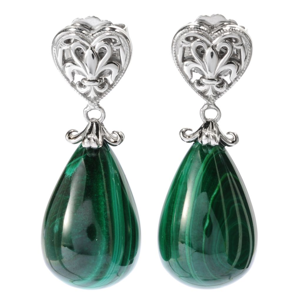 "134-217 - Dallas Prince Designs Sterling Silver 21 x 14mm Pear Shaped Gemstone 1.5"" Drop Earrings"