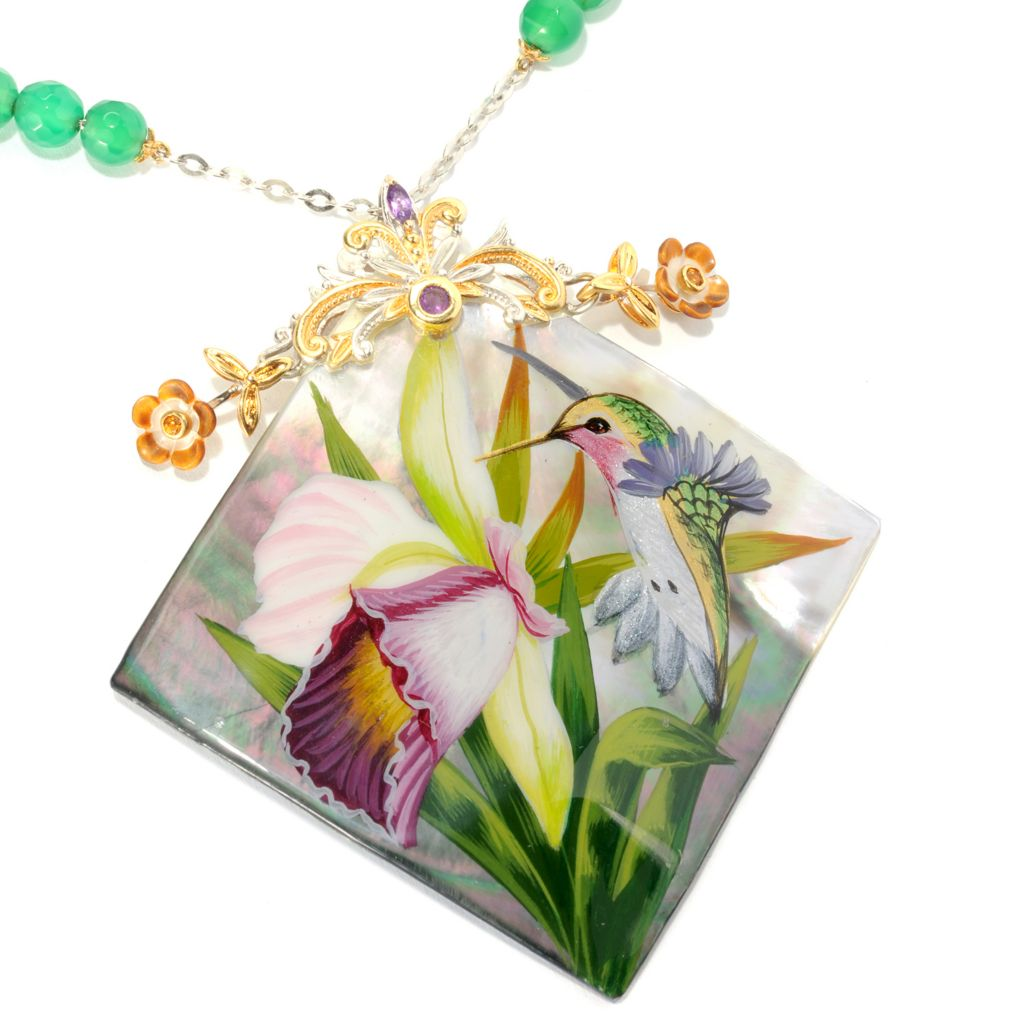 134-220 - Gems en Vogue 50mm Hand-Painted Mother-of-Pearl Hummingbird Toggle Necklace