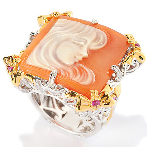 134-222 - Gems en Vogue II 20mm Hand-Carved Shell Modern Portrait Cameo & Pink Sapphire Ring