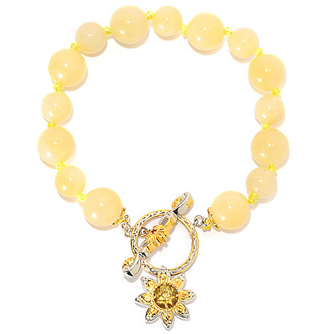 134-226 - Gems en Vogue 7.5'' Aragonite Bead & Multi Gem Flower Charm Toggle Bracelet