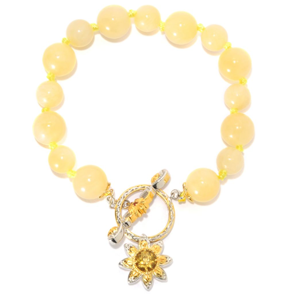 "134-226 - Gems en Vogue 7.5"" Aragonite Bead & Multi Gem Flower Charm Toggle Bracelet"