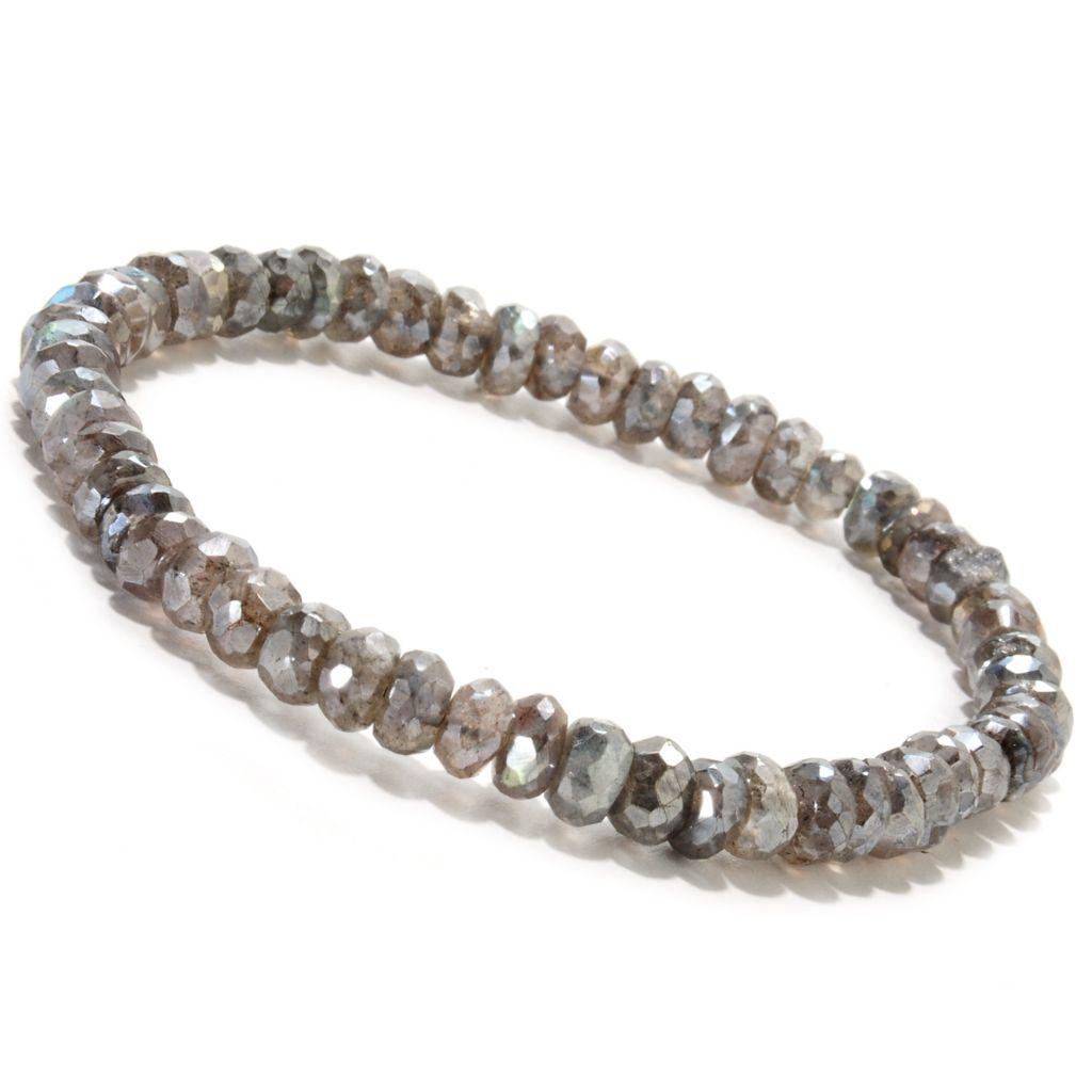 """134-232 - Gem Insider 7.5"""" 5mm Rondelle Labradorite Stretch Bracelet"""