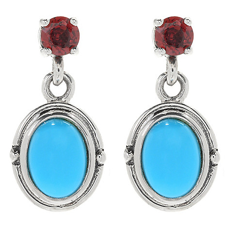 134-233 - Gem Insider™ Sterling Silver 8 x 6mm Sleeping Beauty Turquoise & London Blue Topaz Earrings