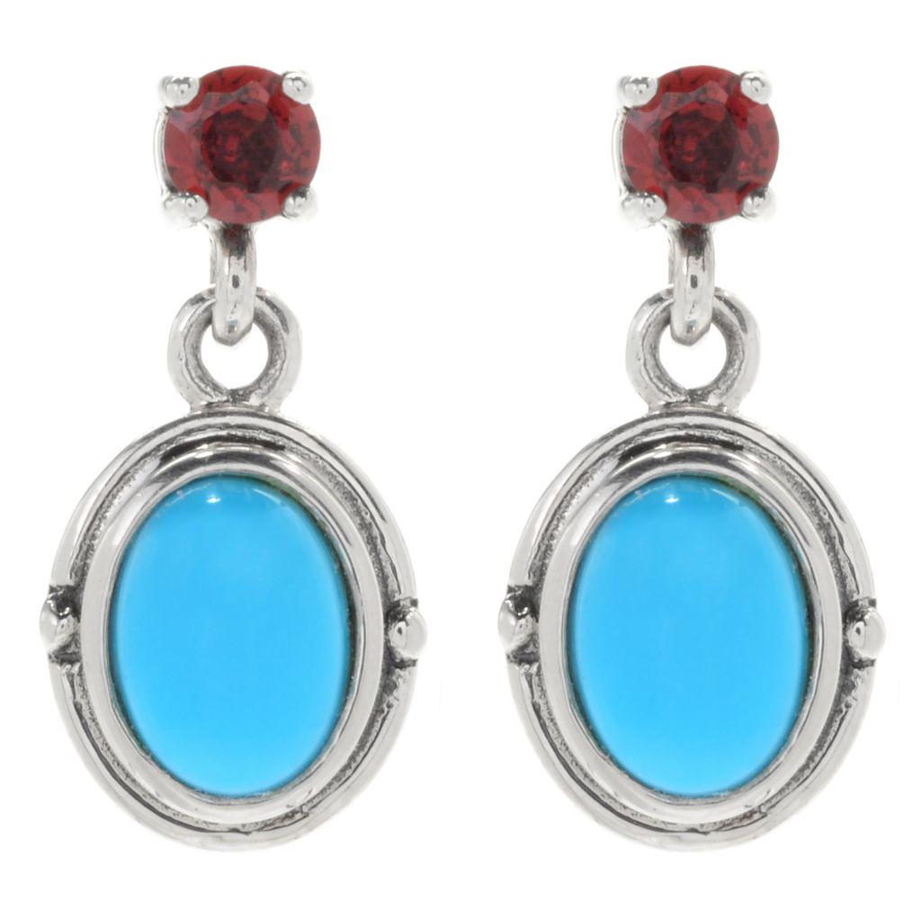134-233 - Gem Insider Sterling Silver 8 x 6mm Sleeping Beauty Turquoise & London Blue Topaz Earrings