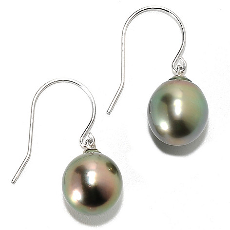 134-244 - Sterling Silver 1'' 10mm Semi-Baroque Black Tahitian Cultured Pearl Drop Earrings