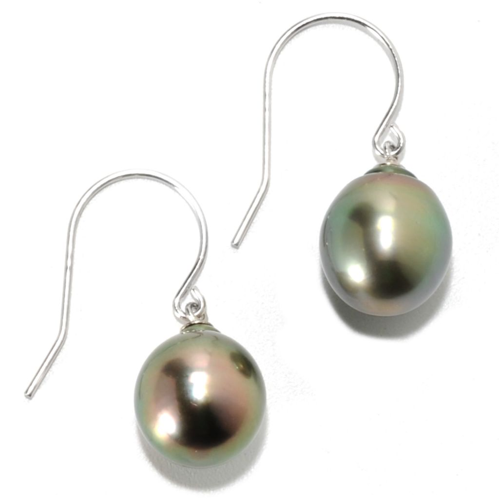 "134-244 - Sterling Silver 1"" 10mm Semi-Baroque Black Tahitian Cultured Pearl Drop Earrings"