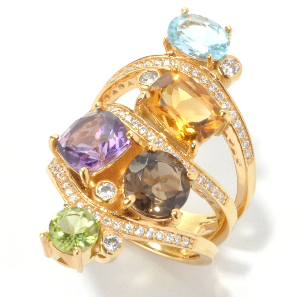 134-248 - Sonia Bitton Gold Embraced™ Genuine Gemstone & Simulated Diamond Three-Band Ring