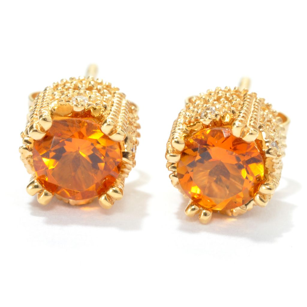 134-250 - Sonia Bitton Genuine Gemstone & Simulated Diamond Milgrain Crown Stud Earrings