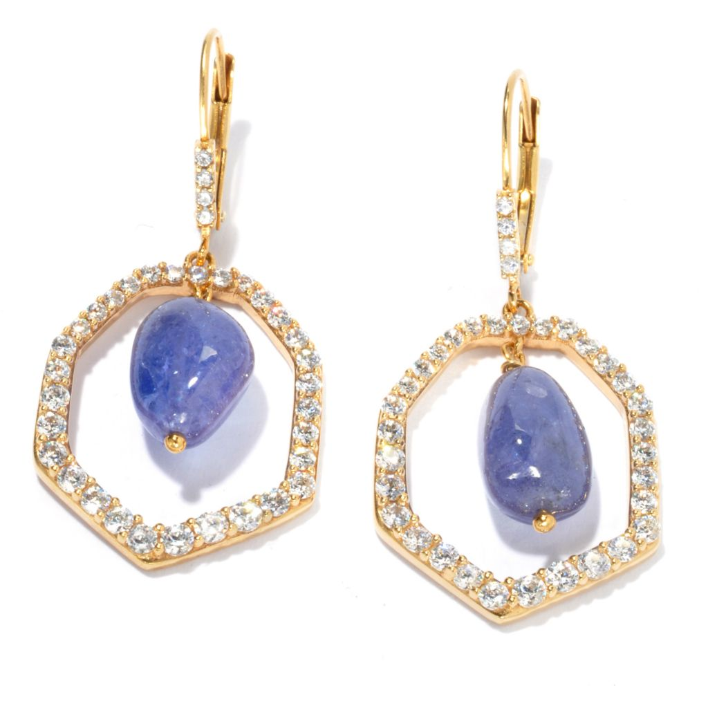 "134-251 - Sonia Bitton 1.5"" Gold Embraced™ Genuine Gemstone & Simulated Diamond Halo Drop Earrings"