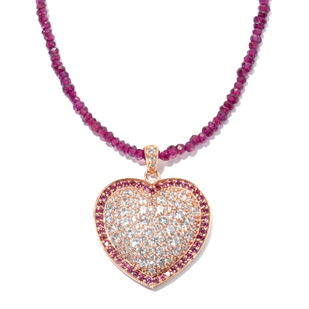 134-252 - Sonia Bitton Rose Gold Embraced™ Genuine Rhodolite & Simulated Diamond Pendant