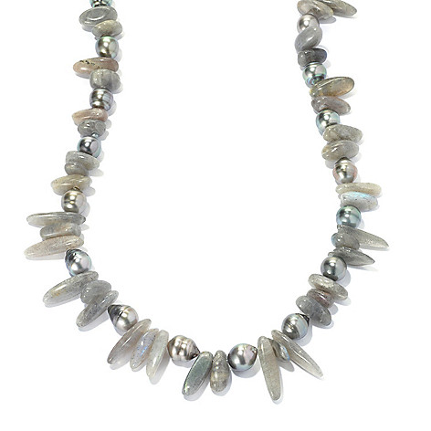134-259 - Sterling Silver 9-10mm Tahitian Cultured Pearl & Labradorite Chip 24'' Necklace