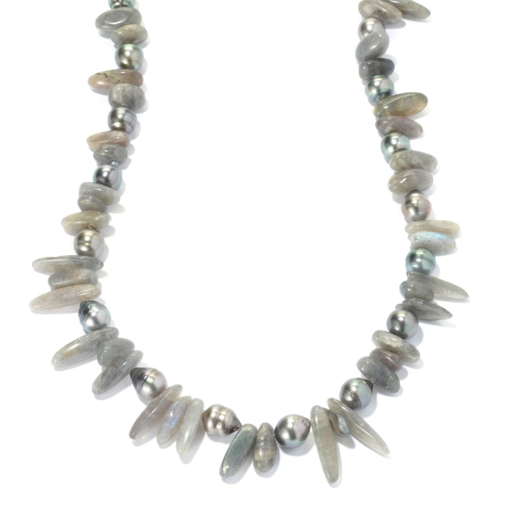 "134-259 - Sterling Silver 9-10mm Tahitian Cultured Pearl & Labradorite Chip 24"" Necklace"