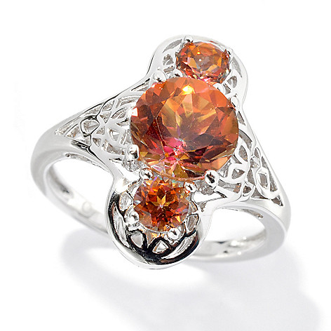 134-261 - Gem Treasures Sterling Silver 2.21ctw Topaz ''Kellie Anne'' Three-Stone Ring