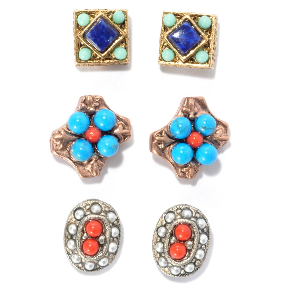 134-262 - Sweet Romance™ Set of Three Multi Color Magnesite & Glass Stud Earrings