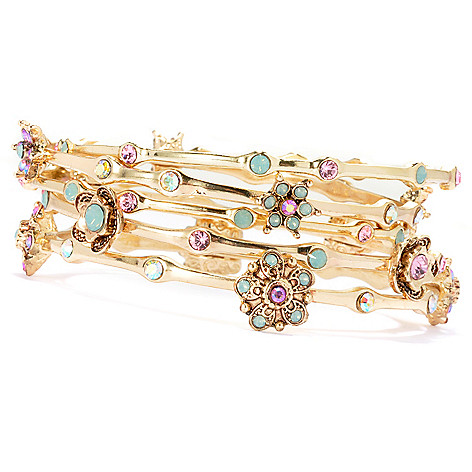 134-263 - Sweet Romance™ Set of Five Multi Crystal Floral Station Bangle Bracelets